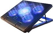 وسادة تبريد الكمبيوتر المحمول من كوتيك مقاس 12 بوصة - 17 بوصة وسادة تبريد مريحة مع 5 مراوح هادئة و2 منفذ USB 2