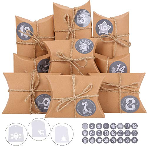 Ulikey 24 Calendrier de l'Avent, Set de Boîtes Calendrier de l'Avent DIY avec Autocollants, Sacs en Papier Kraft à Remplir pour Bonbons Mariage Cadeaux de Noël (Marron)