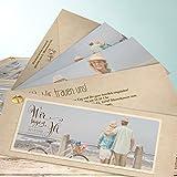 Hochzeitseinladungen online, Romantische Post 200 Karten, Kartenfächer 210x80 inkl. weißer Umschläge, Braun