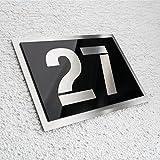 Metzler-Trade Individuelle Hausnummer aus Edelstahl - in hochglänzendem schwarz - rostfreier V2A Edelstahl - witterungsbeständig und pflegeleicht - ideal für den Einsatz im Außenbereich - alle Ziffern, sowie Buchstaben möglich