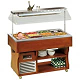 Tecfrigo Isola Heißes Angebot Heiss Buffet Display heiss Display mit Herdplatte Leichtes Holz 1524(H)x2057(B)x745(D) 6 x 1/1 Gastro Pfannen Liter Regale -2 Jahr Teile Garantie Inklusive