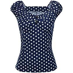 Las Mujer Vintage Algodón Polka Dot 50s Camisetas Tops Retro De Blusa tee Darkblue XXL