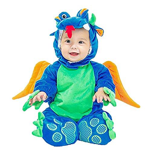 Lazzboy Kostüm Baby Halloween Tierkostüm mit Kapuze Body Footies Strampler Strampler Outfit(Höhe 80,Blau)