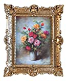 Lnxp - Splendido Quadro con Immagine di Natura Morta in Stile Barocco, Effetto Anticato, 56 x 46 cm, Colore: Rosa/Rosso