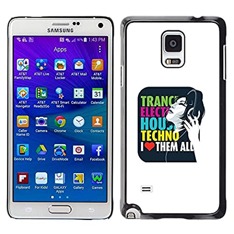 GooooStore/Housse Etui Cas Coque - Trance Techno Music House Electro Love Quote - Samsung Galaxy Note 4 SM-N910