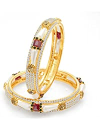 Sukkhi Royal Gold Plated Pearl AD Bangle For Women