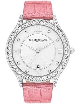 Joh. Rothmann Damenuhr weiß verziert mit Kristallen von Swarovski Armband Echtleder rosa 3 ATM 10030133