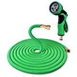 Garden Hose, 100FT Flexible Hose Pipe Anti-leakage Design with Solid Brass Fittings Expandable Magic Hose Reel with 9-pattern Spray Nozzle (Green)