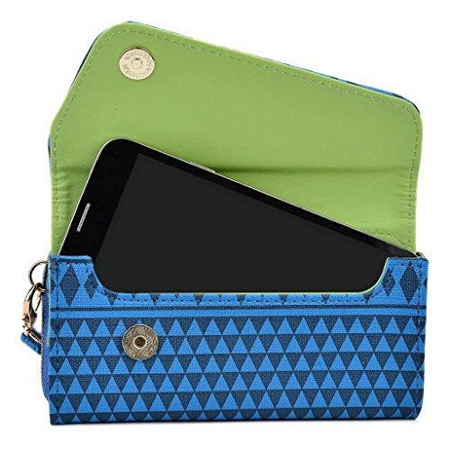 Kroo Pochette/étui style tribal urbain pour Prestigio MultiPhone 5451Duo Rose bleu marine