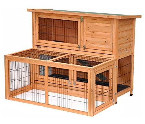 Kaninchenstall Hasenstall Kleintierkäfig XL Wuschel mit Freigehege, wetterfest, 122 x 99 x 93 cm- Farbe: Natur