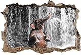 Stil.Zeit Babyelefant am Wasserfall B&W Detail Wanddurchbruch im 3D-Look, Wand- oder Türaufkleber Format: 62x42cm, Wandsticker, Wandtattoo, Wanddekoration