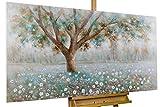 KunstLoft Acryl Gemälde 'Baumflüstern' 140x70cm | original handgemalte Leinwand Bilder XXL | Baum Blüten Braun Weiß Türkis sehr groß | Wandbild Acrylbild moderne Kunst einteilig mit Rahmen