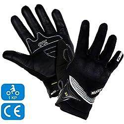 MAXAX Gants Moto Motocross Scooter Homologués CE Gant Tactile Respirable Homologué 1KP Norme Européenne CE - En Cuir Et Textile - Confortable et de Qualité - Unisexe et Mi-saison - Taille L