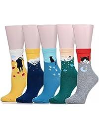 mraw chaud et épais Animal Crew Chaussettes d'hiver pour femme (Lot de 5paires) Multicolore Motif chat taille unique