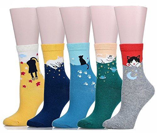 soxera-cute-cat-design-femme-decontracte-confortable-coton-crew-chaussettes-lot-de-5-multicolore-tai