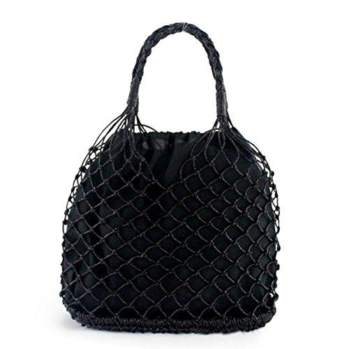 Baumwolle Stroh Tote (Strand-Einkaufstasche, Einfarbige Manuelle Häkelarbeit Gesponnene Handgemachte Taschen-Ausschnitt-Maschen-Tasche Gezeichnetes Stroh Geflochten)