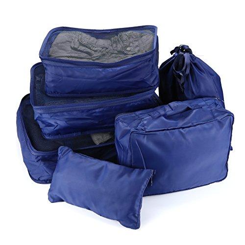 Apeanut 6 Stück Kleidertasche Verpackungswürfel Packwürfel Reisetasche Wäschebeutel Schuhbeutel Kosmetik Würfel Reisegepäck KompressionstaschenTaschenorganizerfür Kleidung (Blau) Blau