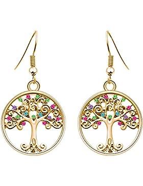 """Murtoo """"Baum des Leben""""Damen-Ohrringe mit Bunte Kristalle von Swarovski und Weißgold vergoldet für Damen"""