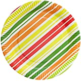 Origami Stripped Party Paper Plates - Pack of 50