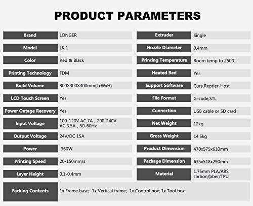 LK1 DIY 3D Drucker LONGER FDM Kit 300 * 300 * 400mm Große Druckgröße mit 2,8-Zoll-Vollfarb-Touchscreen - 6