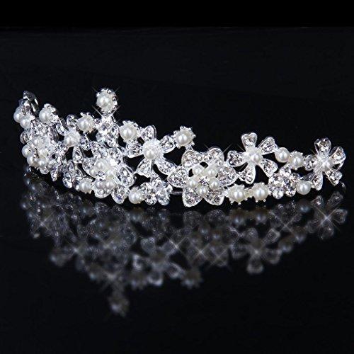 Diadema Adornada Con Cristales y Perlas Artificiales para Novia