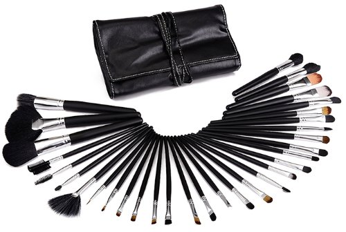 Glow professionnel 32 pc pinceaux maquillage trousse (Black Handle)