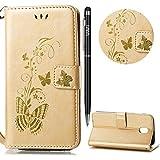 WIWJ Schutzhülle für Samsung Galaxy J5 2017(EU) Handyhülle Leather Case für Samsung Galaxy J5 2017 Hülle Lederhülle [Heißprägen Prägung Schmetterlinge Ledertasche]-Golden
