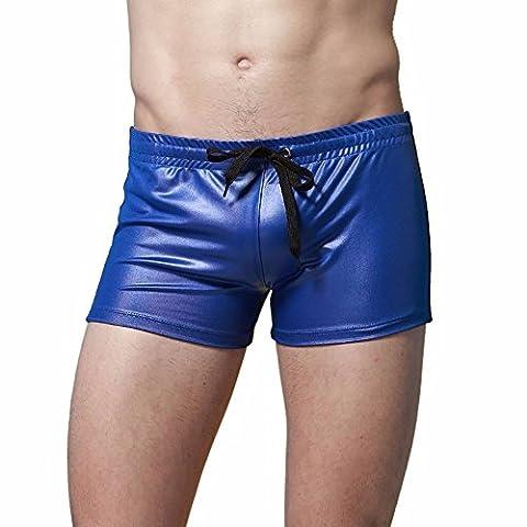 YiZYiF Herren Boxershorts im Drawstring Design Wetlook Leder Look Pants Trunk Badehose S-XL Blau XL