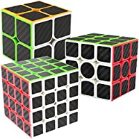 Speed Cubes 2x2x3 + 3x3x3 + 4x4x4, LSMY 3 Pack Puzzle Magico Cubo Carbon Fiber Sticker Giocattolo
