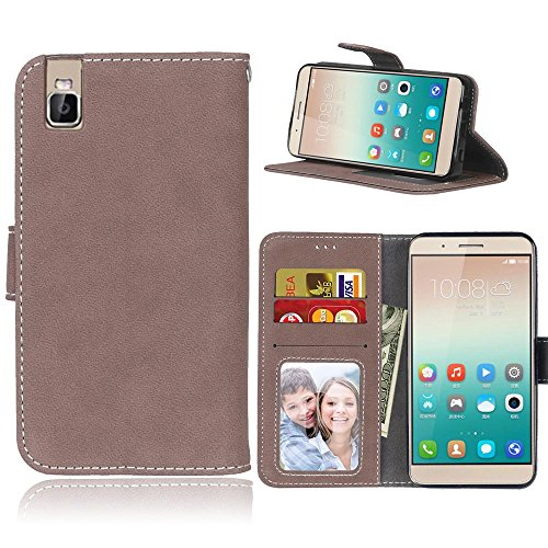 Cozy Hut Huawei ShotX/Honor 7i Hülle, Huawei ShotX/Honor 7i Schutzhülle Folio Magnetverschluss Flip Case Wallet Taljereep Fall Handyhülle mit Kartenfach & Standfunktion - Brown Matte