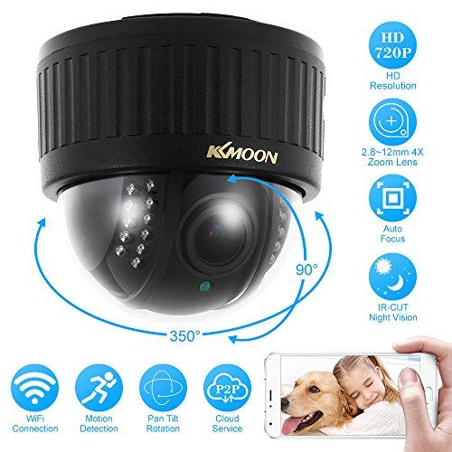 Kkmoon 720p wireless wifi ptz hd ip telecamera dome 2,8~12mm auto-focus manuale varifocale obiettivo zoom 1,0mp 1/3 pollici cmos 22pz ir lampade visione notturna telefono controllo per sicurezza casa