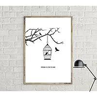Stampa di un poster Freedom. Poster con uccelli. Stampa in stile nordico. Poster stile scandinavo. regalo per lei. Regalo per lui. Idea regalo.