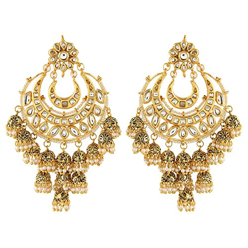 Ushine Ethnic Jewellery Stylish Kundan chanbali Party Wear Classic golden coloured Punjabi Jhumki Earrings For Women & Girls