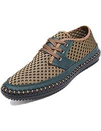 Bebete5858 Verano Zapatos de Malla Transpirable para Hombre Zapatos Casuales de Cuero Genuino resbalón en la