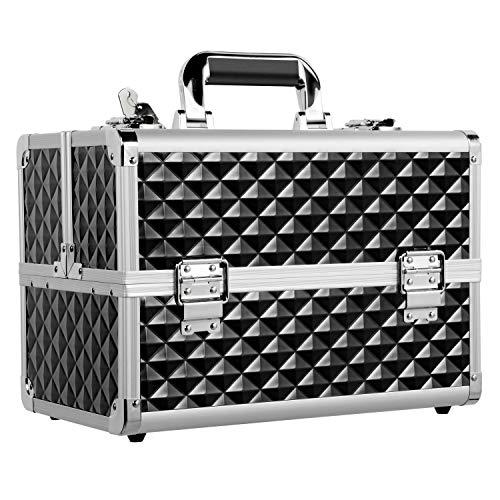 Yaheetech Kosmetikkoffer Profi Beauty Case Alu Transportkoffer Etagenkoffer für Gepäck/Werkzeug/Angelzubehör Schwarz