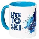 SKI to LIVE - LIVE to SKI - Kaffeepott für Skifahrer - für Das Heißgetränk auf der Piste und im Schnee - Blaue Innentasse, spülmaschinenfest aus Keramik - von tassenWERK.com