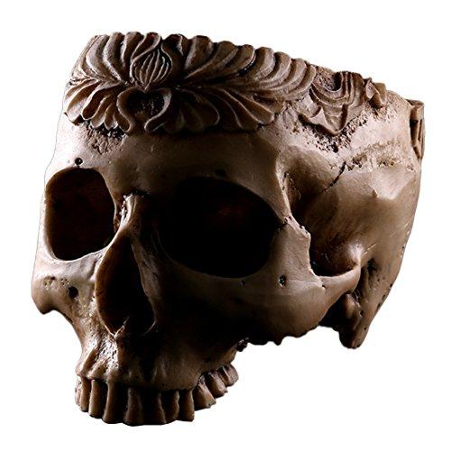Esqueleto cráneo Tallado Resina artesanía macetas jardín decoración cenicero Adorno de Halloween