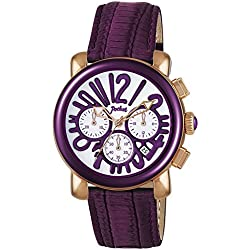 Pocket Women's Quartz Watch with White Dial Chronograph Display and Purple Leather Strap PK2060