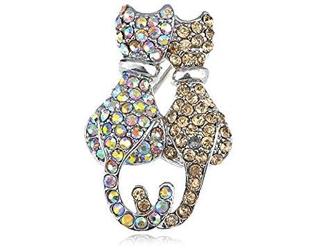 Romantic Loving Topaz Crystal Aurora Borealis Rhinestone Kitty Cat Couple
