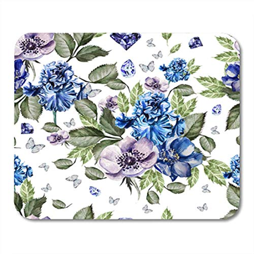 HOTNING Gaming Mauspad Abstract Beautiful Colorful Watercolor Pattern Flowers Iris Anemones Accent 11.8