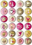 24 Adventskalender Zahlen Buttons: Bunte, nummerierte Anstecker