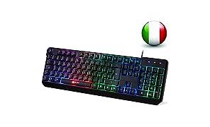 KLIM Chroma Tastiera ITALIANA per Gaming USB - Alte Performance – Colori da Videogioco e Retroilluminata – Tastiera da Gioco – Tastiera per Videogame, PC PS4 Windows, Mac - Nuova 2018 Versione