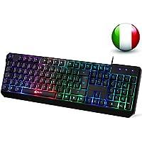 KLIM Chroma Tastiera ITALIANA per Gaming USB - Alte Performance – Colori da Videogioco e Retroilluminata – Tastiera da Gioco – Tastiera per Videogame, PC Windows, Mac