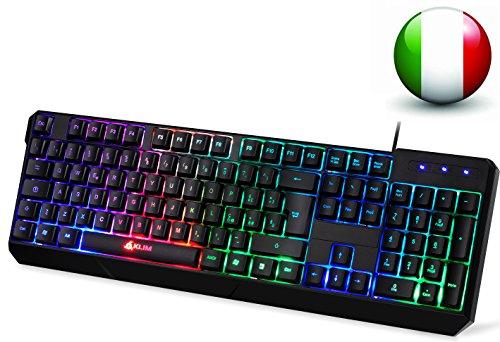 KLIM Chroma Tastatur Gamer ITALY mit USB Kabel – Hohe Leistung – bunte Beleuchtung Gaming Tastatur ( schwarz ) RGB PC Windows, Mac