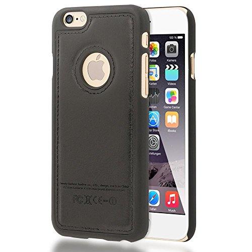 iPhone 6 6S Coque en Cuir Synthétique de NICA, Hard-Case Protection Housse Rigide Ultra-Fine Etui, Premium Slim Cover Bumper Anti-choc Mince pour Telephone Portable Apple iPhone 6S 6, Couleur:Brun Noir