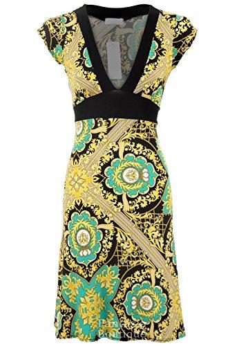 Neu Damen Flügelarm V-Ausschnit Schwarz Gelb Gemustert Rücken Gebunden Schwingendes Damen Kleid Grün
