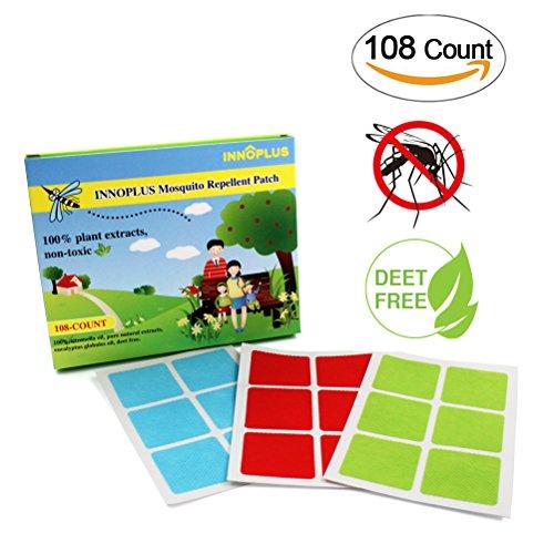 INNOPLUS 100% Nature Deet-Free Mosquito Repellent Patch, 108 COUNT, auf Kleidung, Haut oder überall wo Sie mögen. Erwachsene, Kinder und Tierfreundlich.
