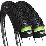 Fincci Par 26 x 1,95 Pulgadas 52-559 Cubiertas con 2.5mm Anti Pinchazo 60TPI para MTB Montaña Hibrida Bici Bicicleta (Paquete de 2)