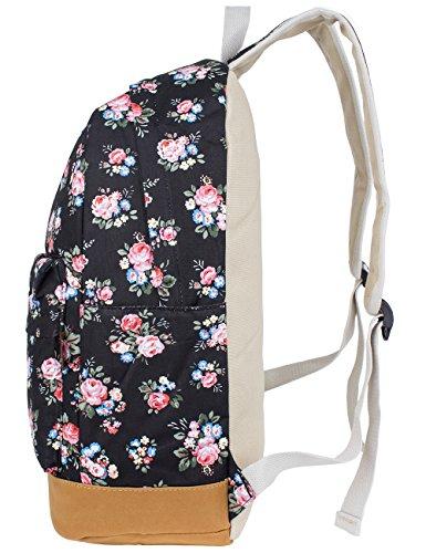 Leaper Blumen Rucksack Retro Rucksack für Outdoor Camping Picknick Außflug Sports Uni Rucksack Schultasche (Flora Schwarz) - 4