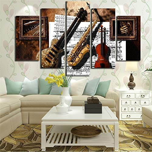 alicefen Wall Art Printsdecor 5 Stücke Musikinstrumente Gitarre Saxophon Violine Musik Score Gemälde Modulare Leinwand Bilder (Kein Rahmen) (Leinwand Bilder Musik)